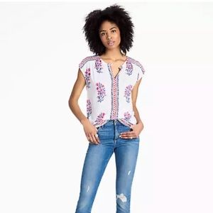 Lucky Brand L White Wood Block Floral Top